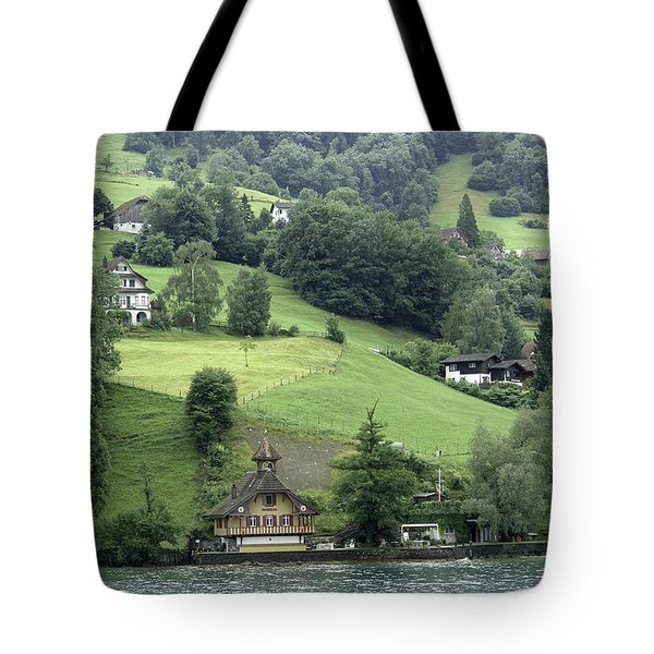 Few Houses On The Slope Of Mountain Next To Lake Lucerne Tote Bag by Ashish Agarwal