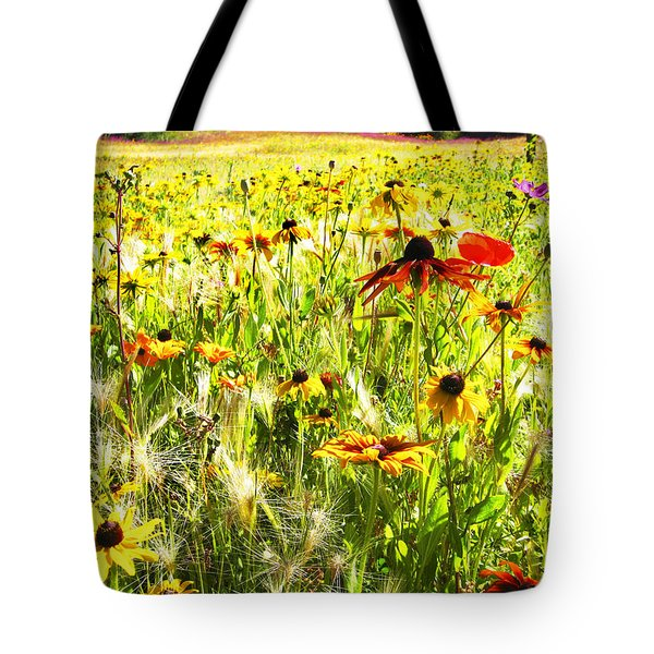 Field Of Bright Colorful Wildflowers Tote Bag by Anne Mott