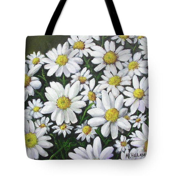 Tote Bag featuring the mixed media Field Of Daisies by Mary Kay Holladay