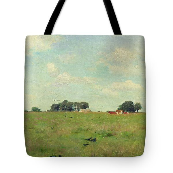 Field With Trees And Sky Tote Bag by Walter Frederick Osborne