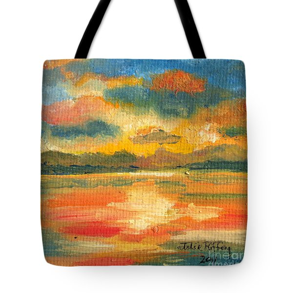 Fiery Sunset Tote Bag by Julie Brugh Riffey