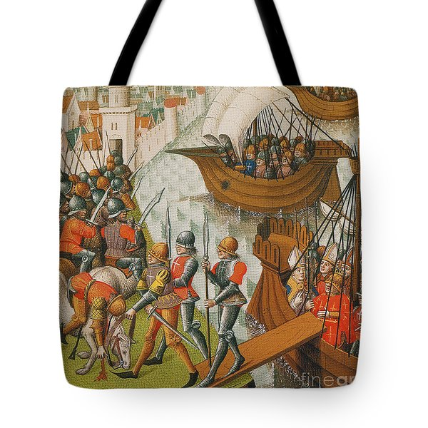 Fifth Crusade Siege Of Damietta 1218 Tote Bag by Photo Researchers