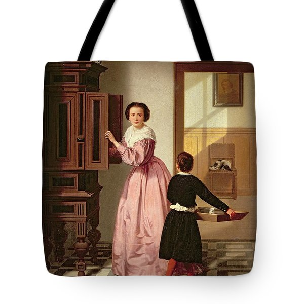 Figures In A Laundryroom Tote Bag by Gustaaf Antoon Francois Heyligers