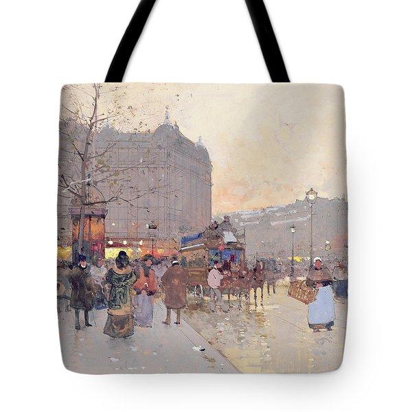 Figures In The Place De La Bastille Tote Bag by Eugene Galien-Laloue