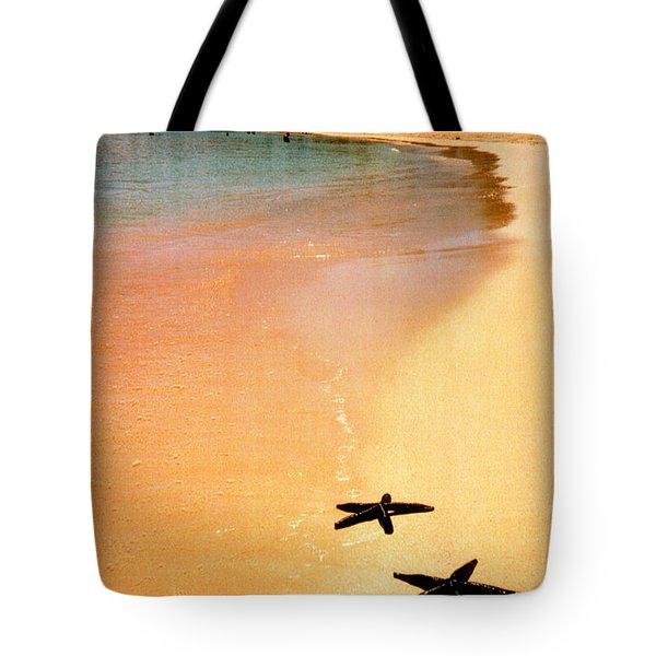 Fiji Beach With Starfish Tote Bag by Jerome Stumphauzer