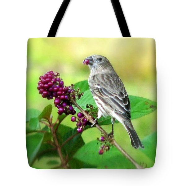 Finch Eating Beautyberry Tote Bag