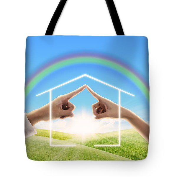 Fingers Touching Together Tote Bag by Setsiri Silapasuwanchai