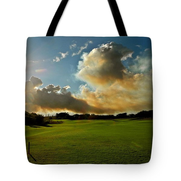 Fire Clouds Over A Golf Course Tote Bag by Kirsten Giving