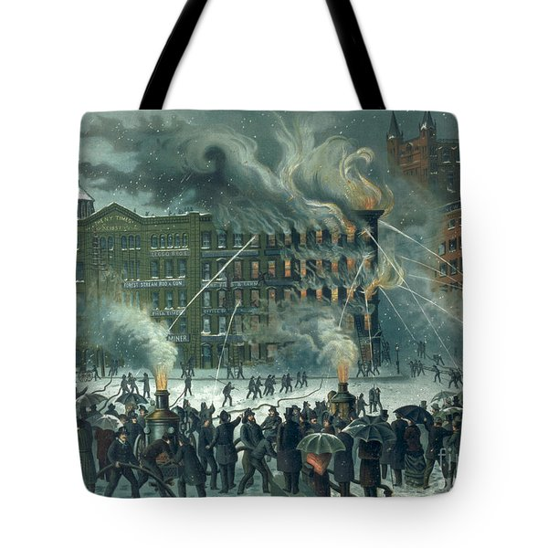 Fire In The New York World Building Tote Bag by American School