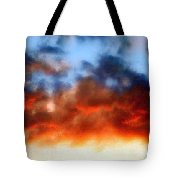 Fire In The Sky Tote Bag by Andee Design