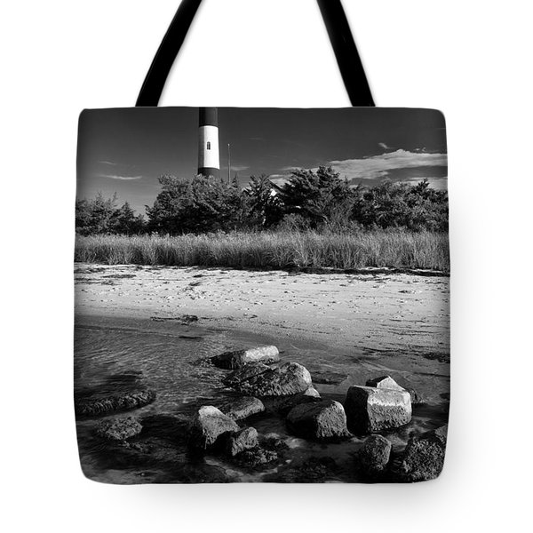 Fire Island In Black And White Tote Bag