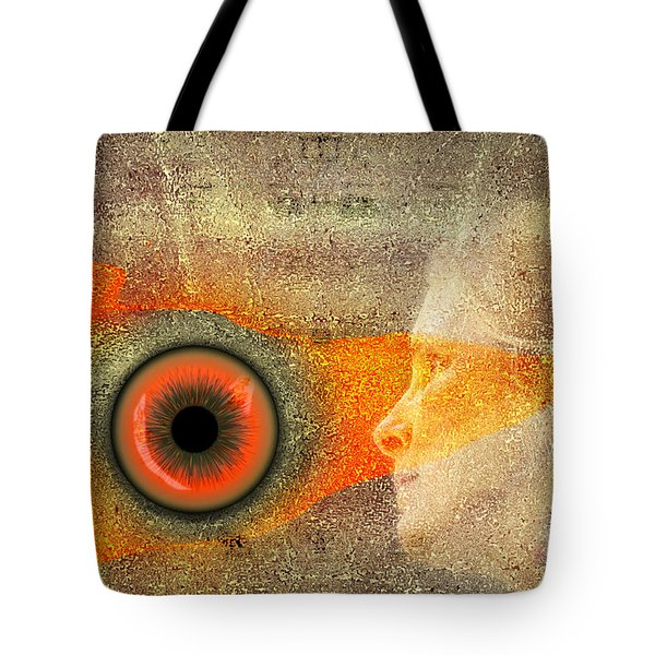 Tote Bag featuring the digital art Fire Look by Rosa Cobos