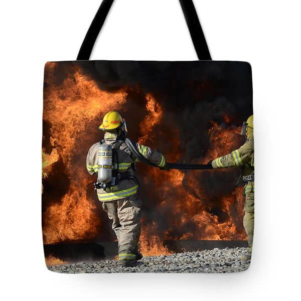 Firefighters In Action 3 Tote Bag by Bob Christopher