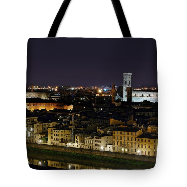 Firenze Skyline At Night - Duomo And Surroundings Tote Bag