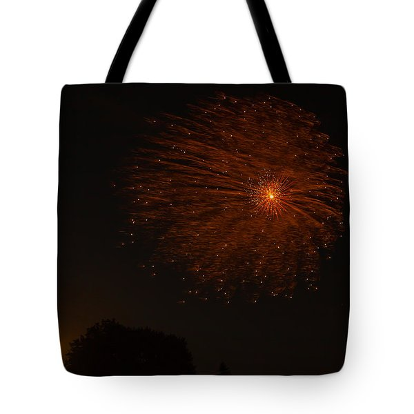 Tote Bag featuring the photograph Fireworks And Wildfire Moon by Tom Gort