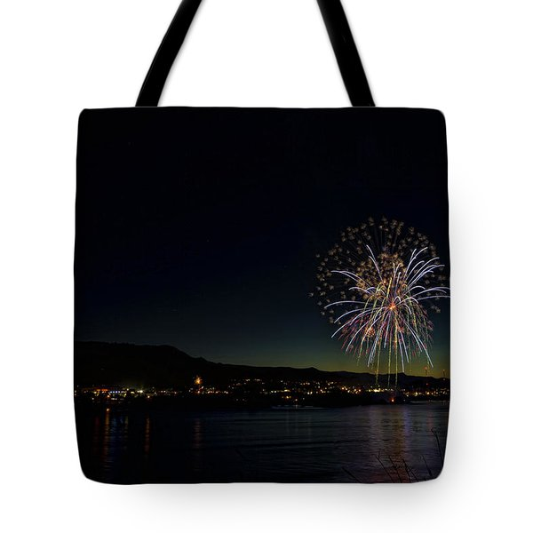 Fireworks On The River Tote Bag