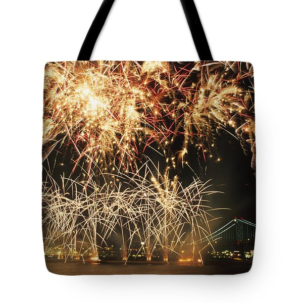 Fireworks Over Harbour Tote Bag by Axiom Photographic