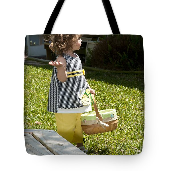 Tote Bag featuring the photograph First Easter Egg Hunt by Steven Sparks