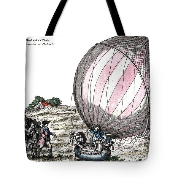 First Manned Hydrogen Balloon Flight Tote Bag by Photo Researchers