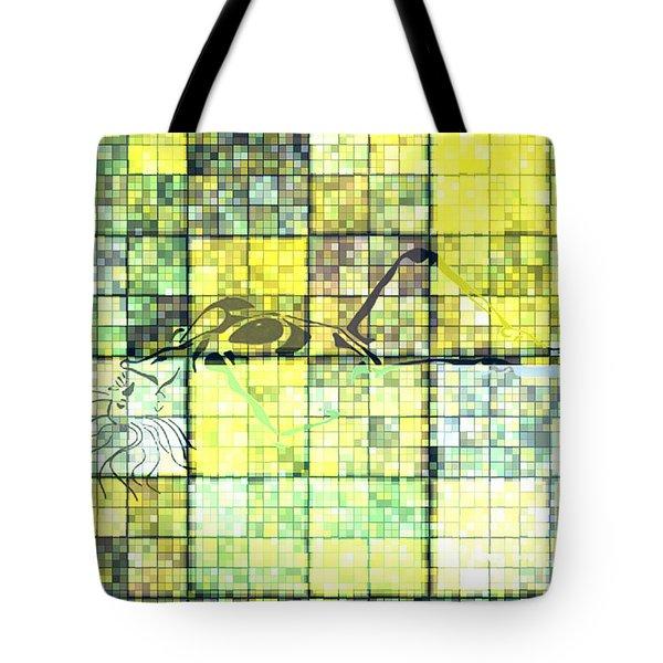 First Time Geometric Yellow Tote Bag by Mayhem Mediums