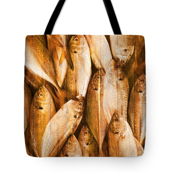 Fish Pattern On Wood Tote Bag by Setsiri Silapasuwanchai