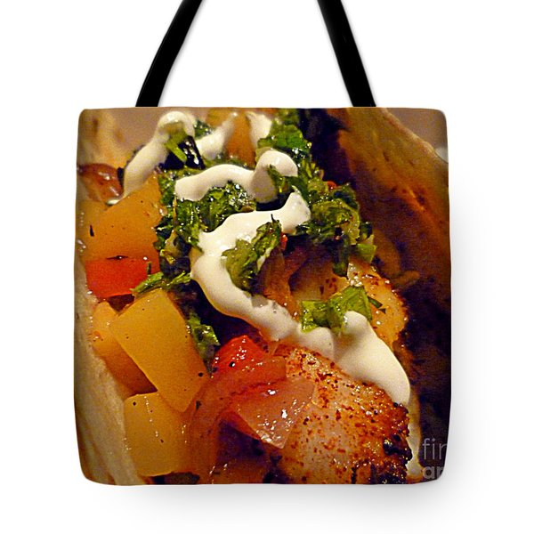 Fish Taco With Mango Salsa Tote Bag by Renee Trenholm