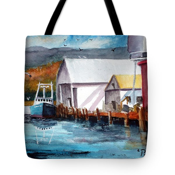 Fishing Boat And Dock Watercolor Tote Bag