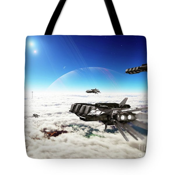 Five Medium Freighters Deccelerate Tote Bag by Brian Christensen