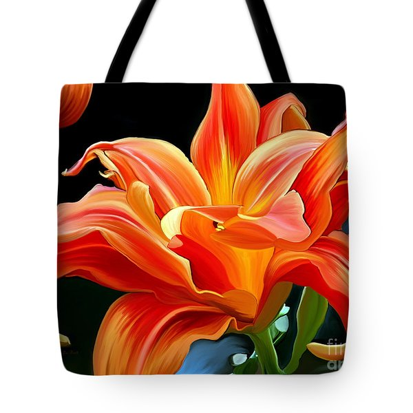 Flaming Flower Tote Bag by Patricia Griffin Brett