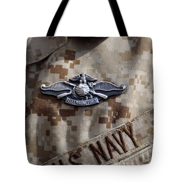 Fleet Marine Force Warfare Device Pin Tote Bag by Stocktrek Images