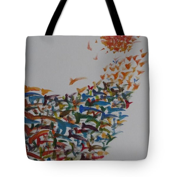 Tote Bag featuring the painting Fleet Of Birds by Sonali Gangane