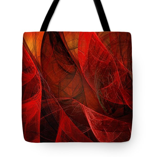 Flickering Flaming Fractal 2 Tote Bag by Andee Design