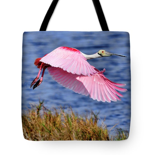 Flight A Roseate Spoonbill Tote Bag