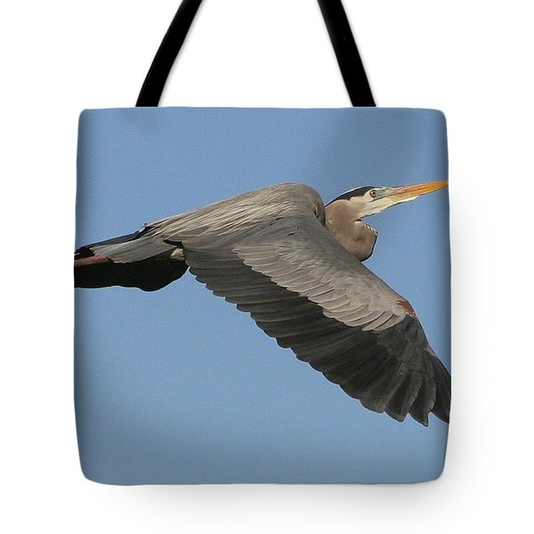 Tote Bag featuring the photograph Flight Of The Great Blue Heron by Myrna Bradshaw