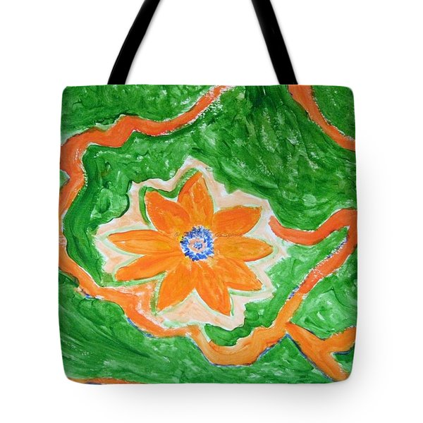 Tote Bag featuring the painting Floating Flower by Sonali Gangane
