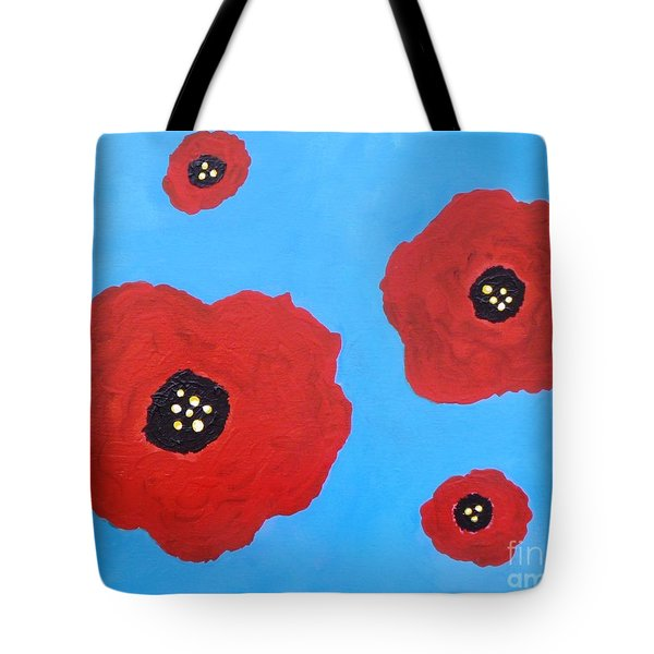 Tote Bag featuring the painting Floating Flowers by Alys Caviness-Gober