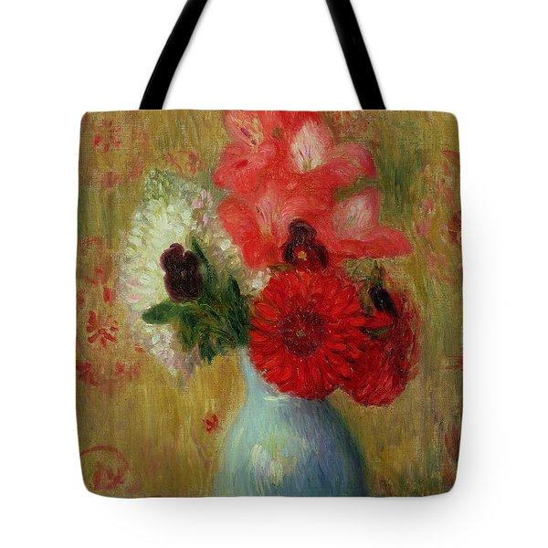 Floral Arrangement In Green Vase Tote Bag by William James Glackens