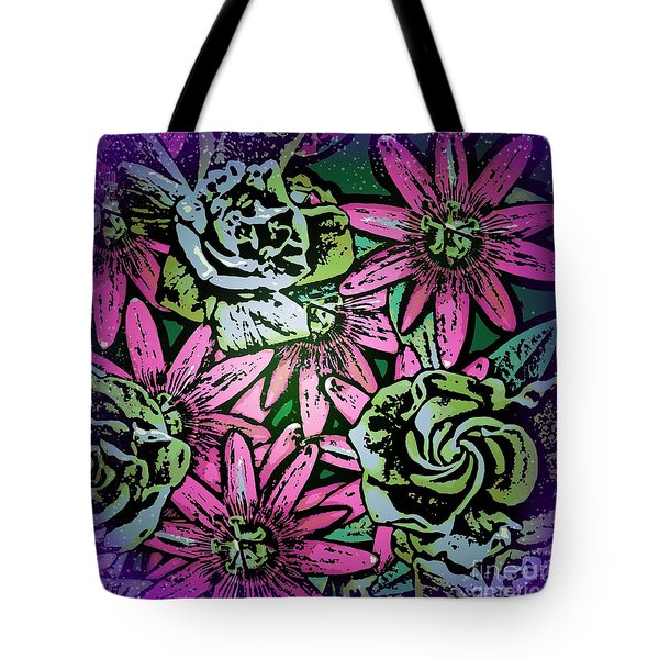 Tote Bag featuring the digital art Floral Explosion by George Pedro
