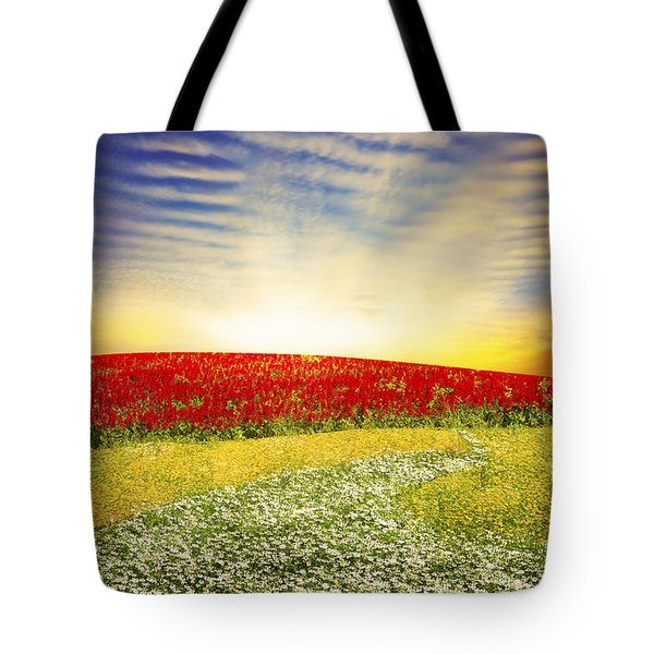 Floral Field On Sunset Tote Bag by Setsiri Silapasuwanchai