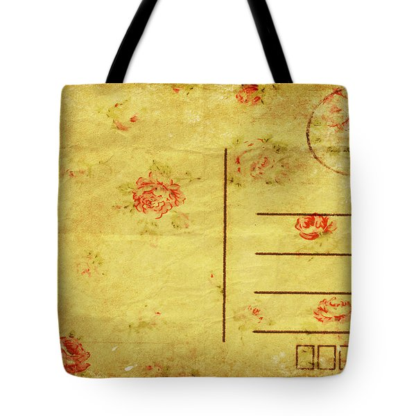 Floral Pattern On Old Postcard Tote Bag by Setsiri Silapasuwanchai