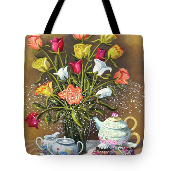 Floral With China And Ceramics Tote Bag