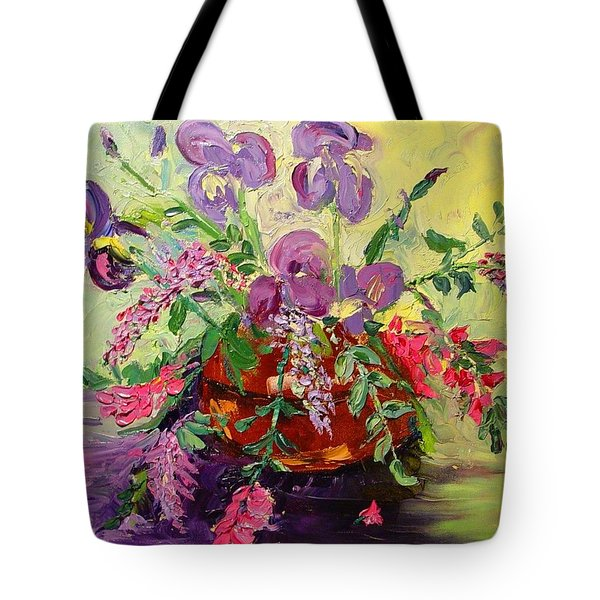 Tote Bag featuring the painting Floral With Knives by Carol Berning