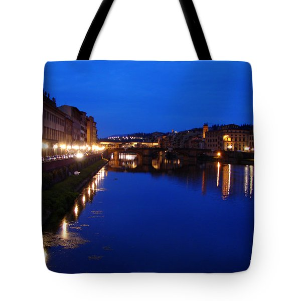 Tote Bag featuring the photograph Florence Arno River Night by Patrick Witz
