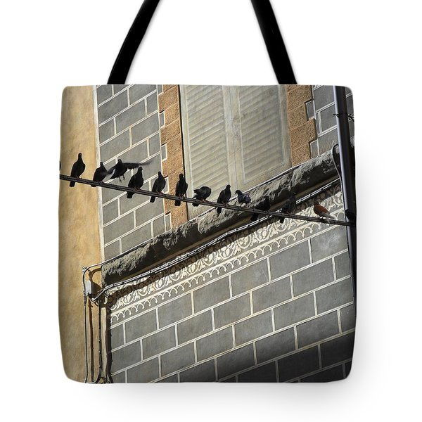 Tote Bag featuring the photograph Florentine Pigeons by Laurel Best