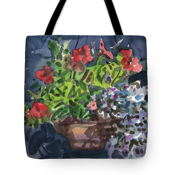Tote Bag featuring the painting Flower Basket by Donald Maier
