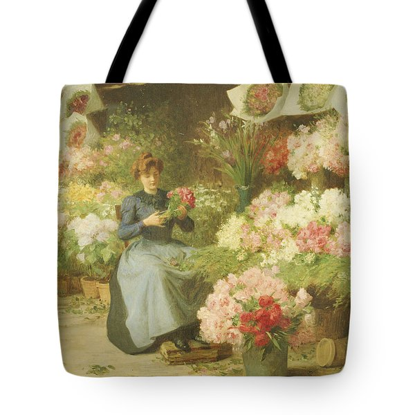 Flower Seller In Front Of The Madeleine Church Tote Bag
