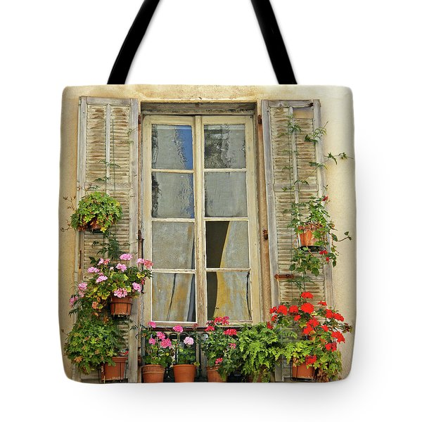 Tote Bag featuring the photograph Flower Window Provence France by Dave Mills