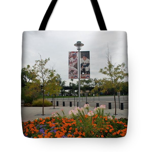 Flowers At Citi Field Tote Bag by Rob Hans