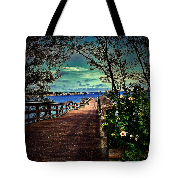 Flowers By The Pier Tote Bag