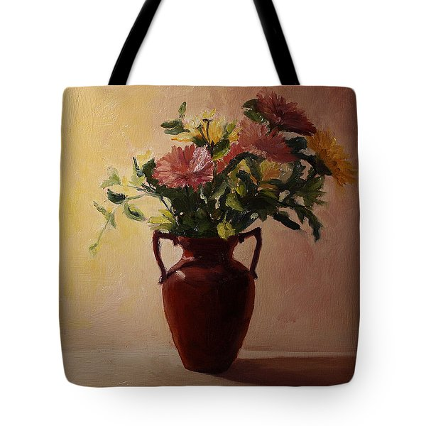 Flowers In A Square Tote Bag by Rachel Hames